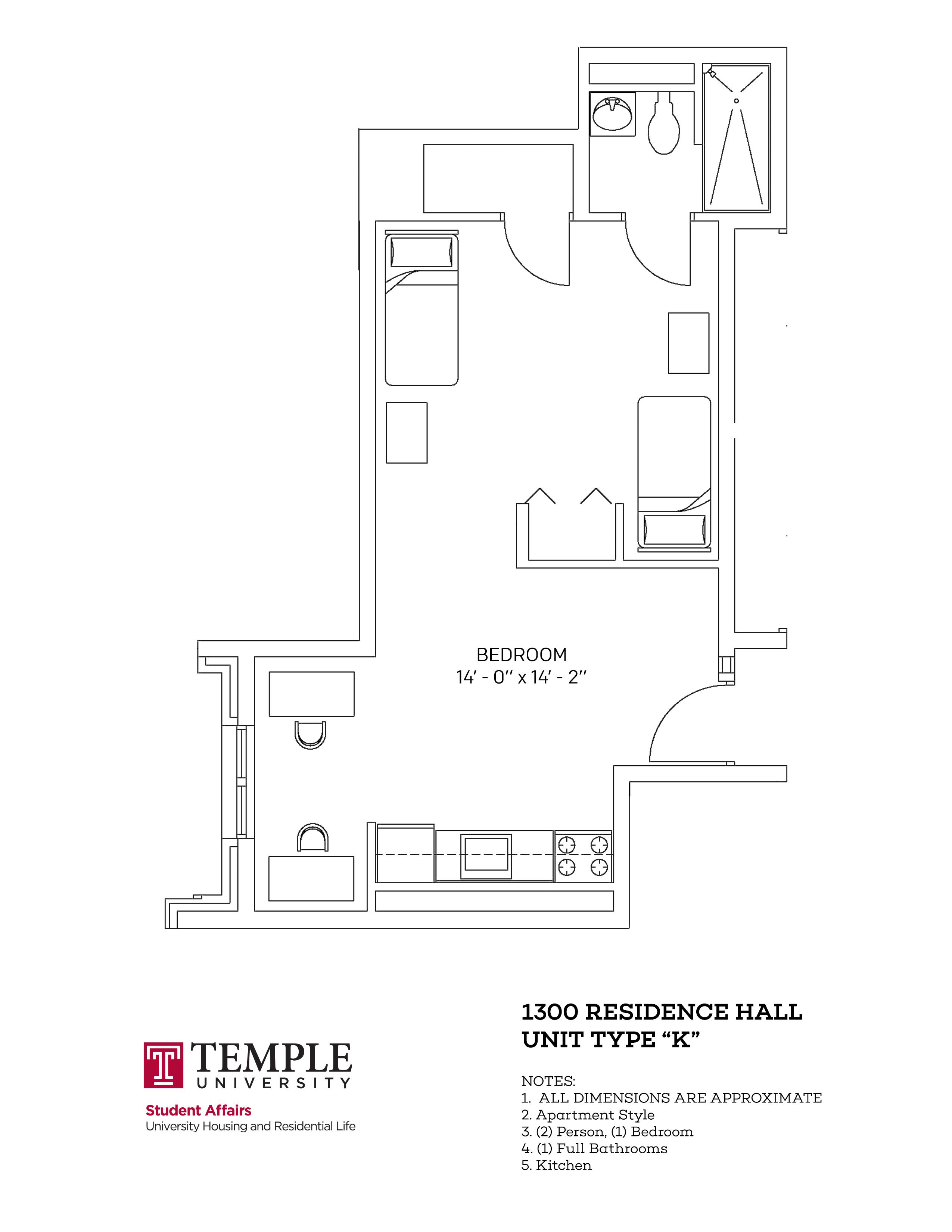 1300 Residence Hall: Unit K
