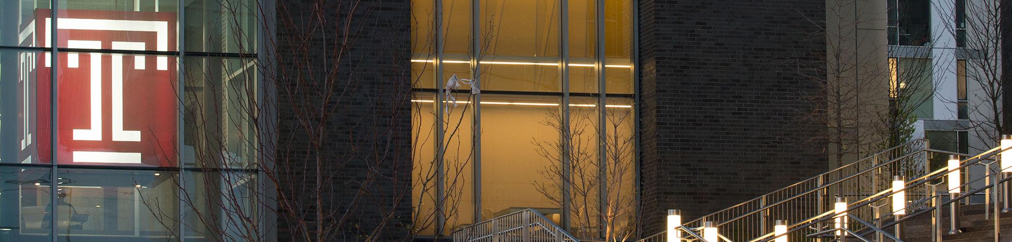 Close up of side of Morgan Hall at night